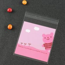 12 Self Adhesive Pink Teddy Bear Cellophane Party Favor Gift Bags 10 x 10cm