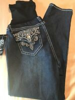 LOVE INDIGO PREMIUM MATERNITY JEANS SIZE LG BACK BUTTON W/BLING. NWT $68 JCP7