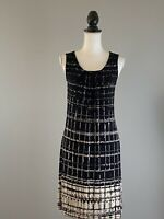CHICO'S Travelers Shift Dress Black Ivory Print Sleeveless Slinky Size 0 Small