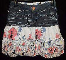 DESiGUAL distress denim floral print bubble skirt Barcelona designer 34 2 XS