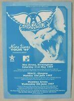 AEROSMITH 1997 NINE LIVES UK Tour 3 Show Double-Sided Promo / Concert Handbill