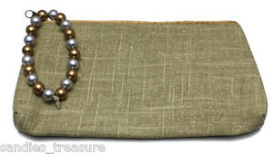 Avon Summer Favorites Shimmering Beaded Pull Linen Cotton Clutch or Cosmetic Bag