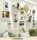 14 PCs Photo Frame Set Wall Art Decoration with Floating Shelf and Vintage Clock