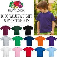 5 Pack Fruit of the Loom Boys Girls Valueweight T Shirt Kids Top School Uniform