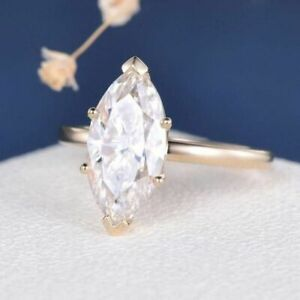 18K SOLID Yellow Gold 3CT Marquise cut Diamond Engagement Wedding Ring