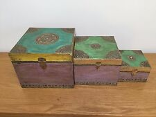 Handmade Vintage Wooden Indian Rajasthani Jewellery Storage Box Set Shabby Chic
