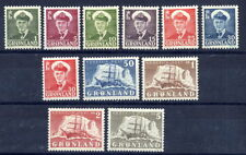 GREENLAND 1950-59  King Frederik and Ship definitive set MNH / **