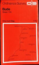 OS 1971 COLOURED, CONTOURED PAPER MAP of BUDE SHEET 174 ONE-INCH Price 44p