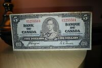 1937 $5 Dollar Bank of Canada Banknote DS1255564