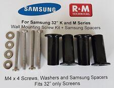 """M4 Wall Mount Screws Kit + Spacers Samsung K,M LED 32"""" NEW - UK Samsung Dealer"""