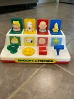 Vintage Snoopy & Friends Baby Toddler Pop Up Toy With Handle Woodstock Sally
