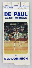 1985 01/14 Old Dominion at DePaul Basketball Ticket Stub-Kenny Gattison