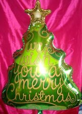 """GIANT WE WISH YOU A MERRY CHRISTMAS TREE FOIL BALLOON GIANT 36"""" SUPERSHAPE"""