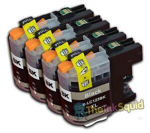 4 Black LC123 Ink Cartridges For Brother MFCJ6720DW MFCJ6920DW MFCJ870DW non-OEM