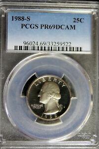 1988-S Proof Washington Quarter Coin PCGS PR69DCAM