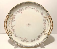 "13"" HAVILAND LIMOGES CHINA FLORAL & DOUBLE GOLD CHOP PLATE FRANCE SCHLEIGER CAKE"