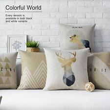 "Brown Nordic Deer Animal Geometric Flax Linen Pillow Case Cushion Cover 18""x18"""
