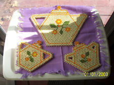 WOODEN BEADED DOILIES - TABLE PADS-BAMBOO & YARN 3 PC.