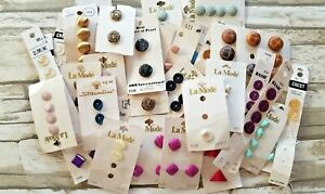 Vintage Sewing Buttons Lot On Cards Full and Partial Cards
