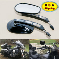 Gloss Black Edge Cut Mirrors Motorcycle Cruiser For Harley Davidson Street Glide