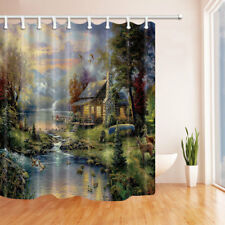 Elk House In Mountain Forest Bathroom Shower Curtain Fabric w/12 Hooks 71*71inch