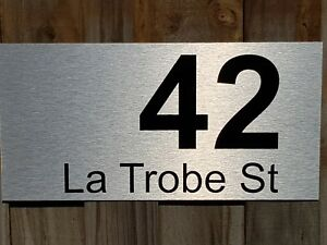 customised street name and number house sign 400mm x 200mm