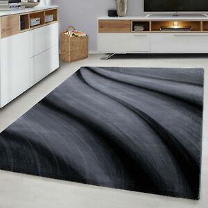 WAVES 6630 MODERN DESIGN RUG BLACK GREY SOFT LARGE FLOOR BEDROOM CARPET RUGS