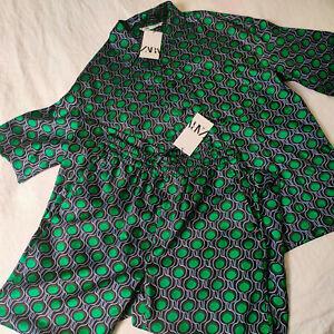 ZARA COORD Printed Pyjama Style Trousers Tunic Shirt XS S M L XL Black Green