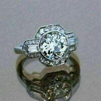 Vintage Art Deco Women Engagement Ring 2.10 Ct Round Diamond 14K White Gold Over
