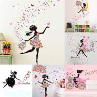 Girl Flower Removable Wall Art Sticker Vinyl Decal Room Home Mural Decor DIY