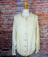 "True Vintage cable aran chunky hand knit cardigan cream bust 46"" 18 L wool blend"