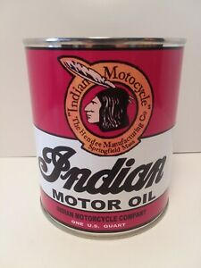 Retro Indian Motorcycle Oil Can 1 qt - (Reproduction Tin Collectible)