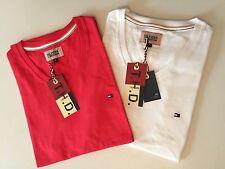 Tommy Hilfiger Bequeme Sitzende Unifarben Herren-T-Shirts mit V-Ausschnitt