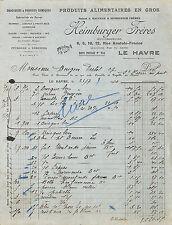 LE HAVRE FACTURE HEIMBURGER EPICERIE BOUGON-DUTOT SAINT-PIERRE-EN-PORT 1930