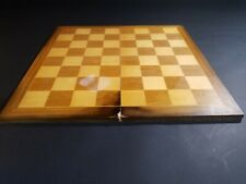 Vintage Large Wooden Folding Chess Board Felt Bottom 16""