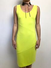 METALICUS SOFT TAILORING LIME YELLOW  BODY CON STRETCH DRESS SLEEVELESS MED/LGE