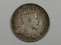 "1910 Silver Canadian 5 Cent Coin (""Holly"" Variety). CANADA.  #27"