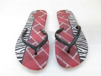 New Women's Havaianas Flip Flop Thong Flat Mix Sandals Red Plaid/Zebra Print 52B