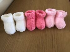 NEW - HAND KNITTED - 3 PACK BABY BOOTEES - NEWBORN - PINK, LIGHT PINK, WHITE