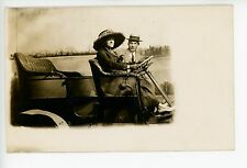 Woman in Huge Hat RPPC Antique Studio Photo—Car Automobile ca. 1910s