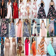 Women Boho Floral Long Maxi Dress Summer Evening Party Beach Slit Spilt Sundress