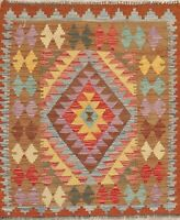 Flat-Woven Pastel Kilim Turkish South-western Wool Rug Kitchen Carpet 3'x4'