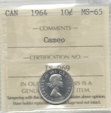 **1964**, ICCS  Graded Canadian,  10  Cent, **MS-65 Cameo**