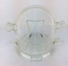 Vintage Set 2 Fire King Clear Glass Hot Plates Handled Trivets Server TM REG USA
