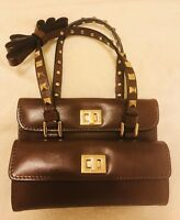 Valentino Garavani Authentic Rockstud Mini Bag Brown Leather