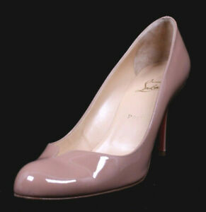 CHRISTIAN LOUBOUTIN Dusty Rose Nude Patent Leather Slim Heels Pumps 39