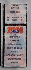 New York Mets Vs Milwaukee Brewers Ticket Stub 2000 9/13/00