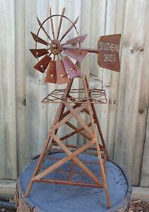 Metal Windmill Rustic Art Rust Ornament Sculpture Home Garden Décor *50 cm*