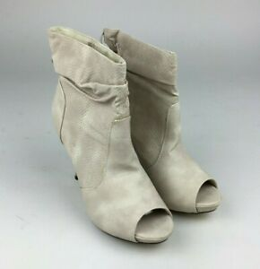 WOMENS LADIES HIGH HEEL SLIP ON PEEP TOE ANKLE BOOTS SHOES SIZE UK 7