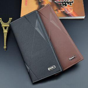 Men's Leather Bifold ID Credit Card Holder Long Wallet Purse Clutch Billfold